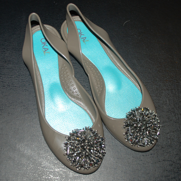 81964c67ecf3f8 OKA b. Shoes - Oka B jelly ballet flats slingback size 6 beaded